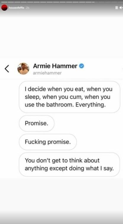 KONTROLL: Slik lyder noen av meldingene som skal ha blitt sendt fra skuespillerens bruker. Foto: Skjermdump fra Instagram