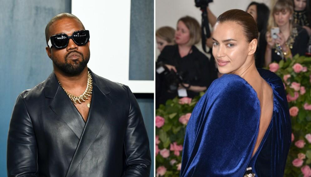 ROMANSERYKTER: Mye kan tyde på at Kanye West og Irina Shayk er Hollywoods nye stjernepar. Foto: Evan Agostini/Invision/AP/Lionel Hahn/ABACAPRESS.COM/NTB