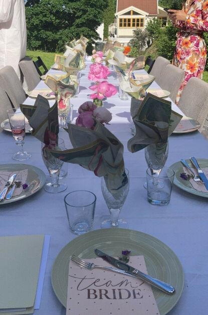 TEAM BRIDE: Utdrikninslaget ble holdt hjemme i hagen til Meretes forlover. Foto: Privat