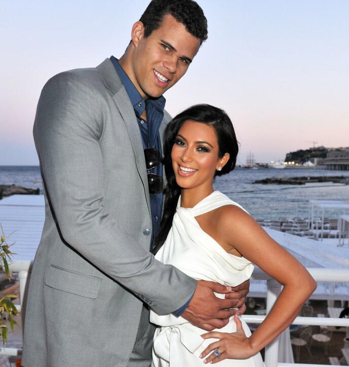 DEN GANG DA: Her er Kris Humphries og Kim Kardashian nyforlovet i mai 2011. I august giftet de seg og 72 dager senere søkte hun altså om skilsmisse. Foto: Alan Davidson/REX/NTB