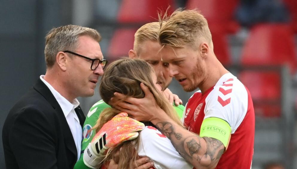 BRYTER TAUSHETEN: Christian Eriksens kjæreste Sabrina Kvist Jensen uttaler seg for første gang etter at Eriksen kollapset forrige lørdag. Foto: NTB
