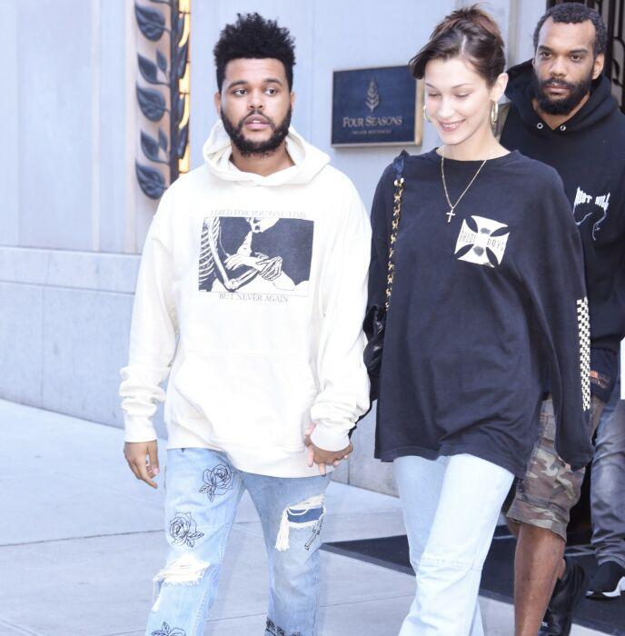 DATE: The Weeknd ble nylig observert på date med Angelina Jolie. Her er han avbildet med ekskjæresten Bella Hadid i 2018. Foto: Odette Martin/REX /NTB