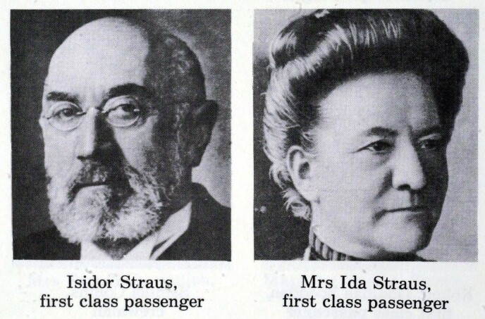 DØDE: Isidor og Ida Straus døde begge på RMS Titanic i 1912. Foto: Phil Yeomans/REX/NTB