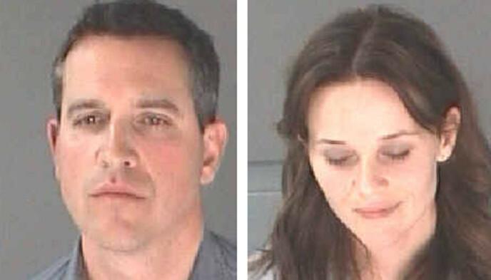 FLAU: Reese Witherspoon og mannen James Toth, på bildene som ble tatt av dem like etter arrestasjonen i Atlanta i 2013. Foto: Reuters / NTB