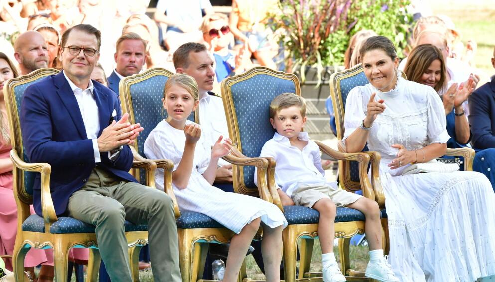 FEIRING: Onsdag kveld var den svenske kongefamilien samlet for å feire kronprinsesse Victorias 44-årsdag. Foto: Jonas Ekströmer / TT Nyhetsbyrån / NTB
