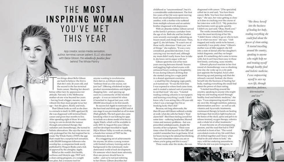 TULL OG TØYS: Belle Gibson levde på sin egen løgn i flere år. Her fra et stort intervju i Elle Australia, før hun ble avslørt. Foto: Faksimile fra Elle Australia
