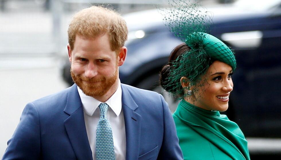 MISFORNØYD: Kongefamilien skal ikke være begeistret for prins Harrys varslede bokprosjekt. Her med kona, hertuginne Meghan, før de valgte å bryte ut av familien og flytte til USA. Foto: Kirsty Wigglesworth / AP / Scanpix