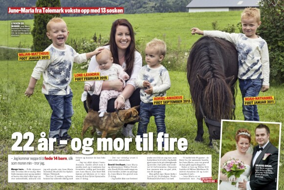 FIREBARNSMOR: June-Maria var 22 år gammel første gang Se og Hørs lesere ble kjent med henne – som Norges yngste firebarnsmor. Faksimile: Se og Hør