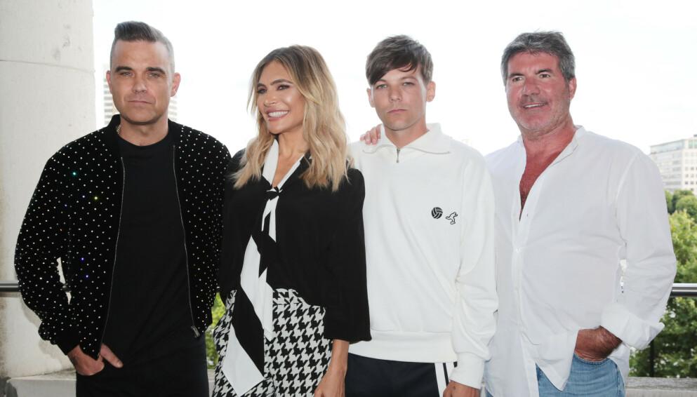 FERDIG: Etter 17 år er det foreløpig satt en slutt for «X-Factor» i Storbritannia. Fra venstre: Robbie Williams, Ayda Williams, Simon Cowell og Louis Tomlinson som satt i dommerpanelet i 2018. Foto: James Shaw/REX/NTB