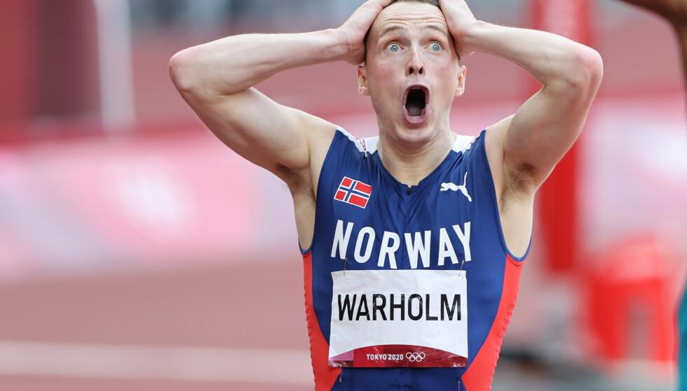 SJOKK: Karsten Warholm sjokkerte en hel idrettsverden med nok en ny verdensrekord på 400 meter hekk. Foto: Bjørn Langsem / Dagbladet