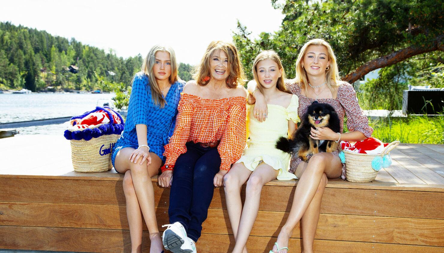 DIGGER BESTEMOR: Wenche Myhre har ti barnebarn. Denne dagen var Jessica (f.v.), Filippa og Julia på besøk i sommervarmen. Foto: Tor Kvello