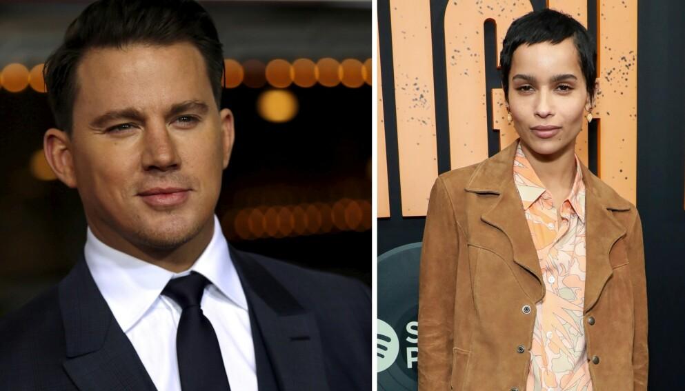 FLØRT?: Det ryktes at Channing Tatum og Zöe Kravitz har funnet tonen. Foto: Mario Anzuoni / Reuters / Jason Mendez / AP / NTB