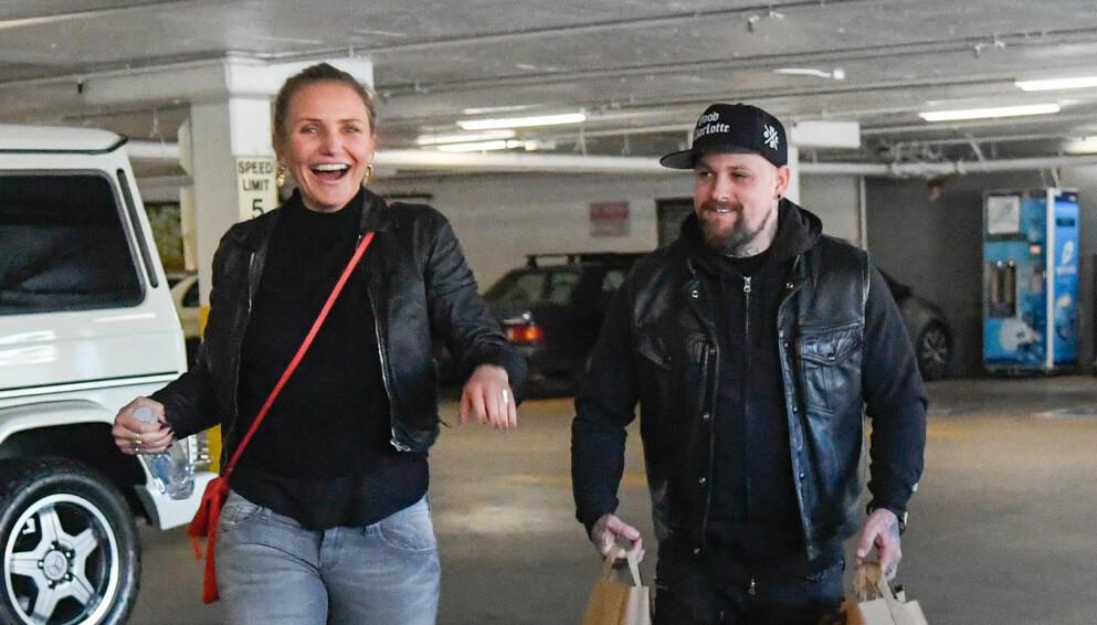 GODT GIFT: Cameron Diaz og Benji Madden har vært sammen i rundt syv år. Foto: Splash News/NTB