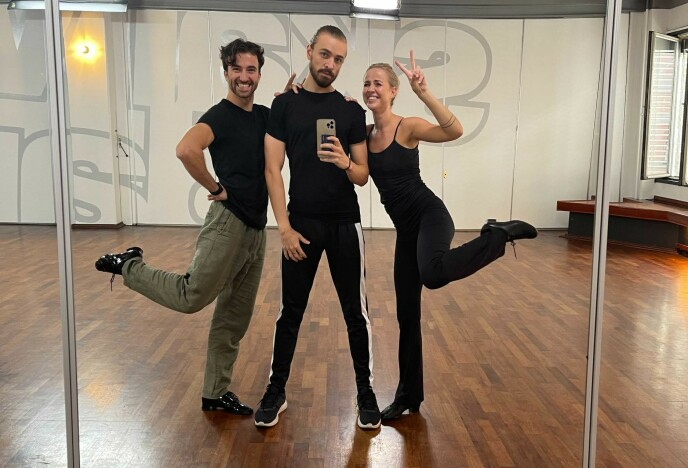 TRENING: Både Kleven og Jørgensen er i hardtrening. Her med sistnevntes dansepartner Santino Mirenna. Foto: Privat