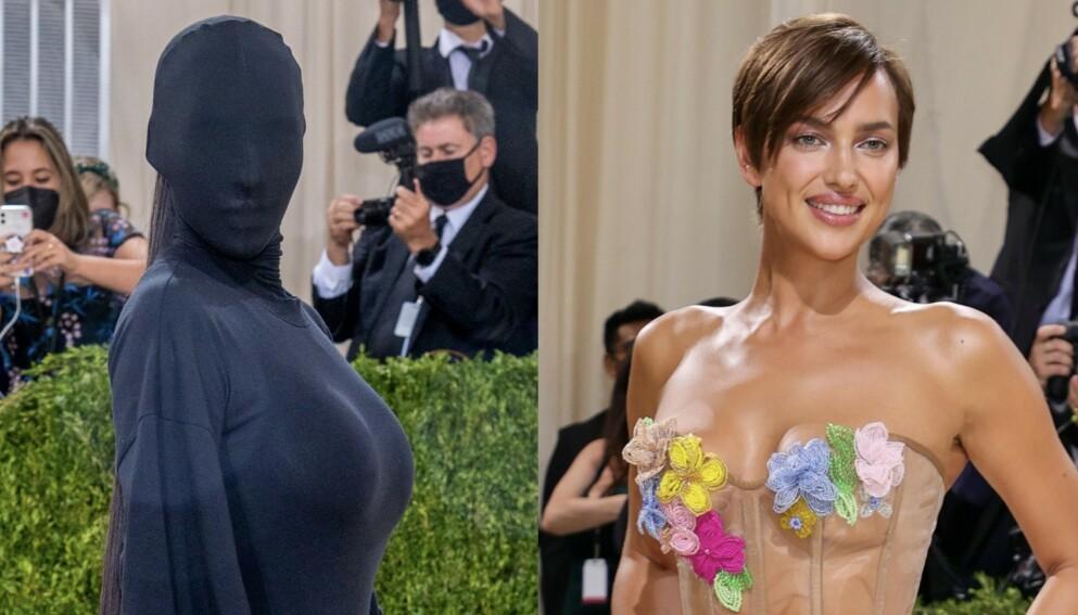 UNDER SAMME TAK: Kim Kardashian (t.v.) og Irina Shayk (t.h.) på Met-gallaen mandag kveld. Foto: Ron Adar / Splash News / NTB / Theo Wargo / Getty Images / AFP / NTB