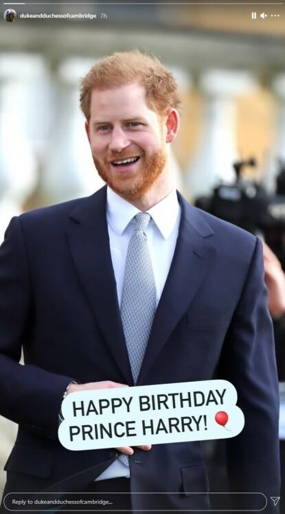 HILSEN: William og Kate har delt følgende hilsen til Harry onsdag. Foto: Skjermdump fra Instagram