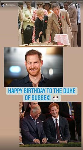 FRA PAPPA OG STEMOR: Prins Harry ble også hyllet av sin far og stemor på bursdagen. Foto: Skjermdump fra Instagram