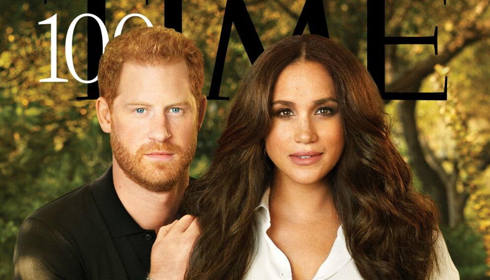 REFSES: Denne forsiden av prins Harry og hertuginne Meghan slaktes av en rekke Twitter-brukere. Foto: Pari Dukovic / Faksimile TIME / NTB