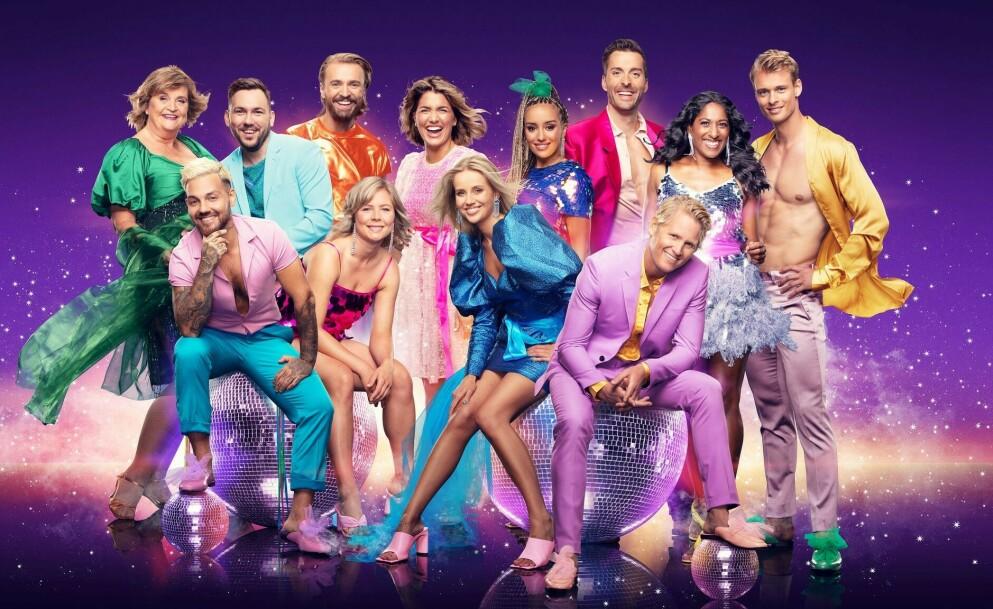 UTE AV DANSEN: Elin Ørjasæter (ytterst t.v.) legger ikke skjul på at hun savner de andre deltakerne etter «Skal vi danse»-exiten. Foto: Fredrik Arff/ TV 2 (montasje)