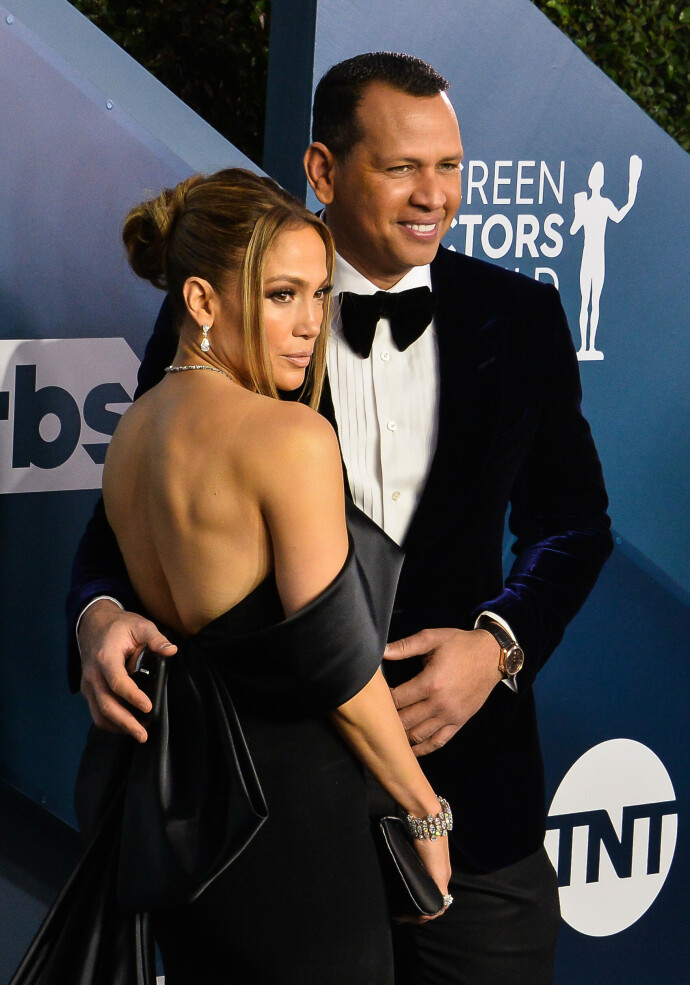 KORT LYKKE: Jennifer Lopez og Alex Rodriguez under Screen Actors Guild Awards i 2020. Foto: Jim Ruymen / UPI / Shutterstock / NTB