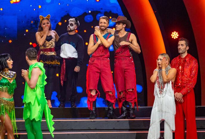 «SJOKK-EXIT»: Sist helg røk Joakim Kleven og Benjamin Jayakoddy (midten) ut av «Skal vi danse», noe som overrasket mange. Foto: Thomas Andersen/ TV 2