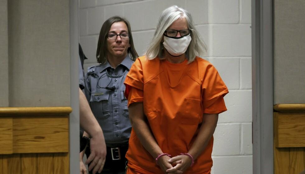 SIKTET: Pamela Hupp på vei inn i retten for høringen i sommer, i forbindelse med drapet på venninnen Betsy Faria. Foto: Christian Gooden/St. Louis Post/NTB