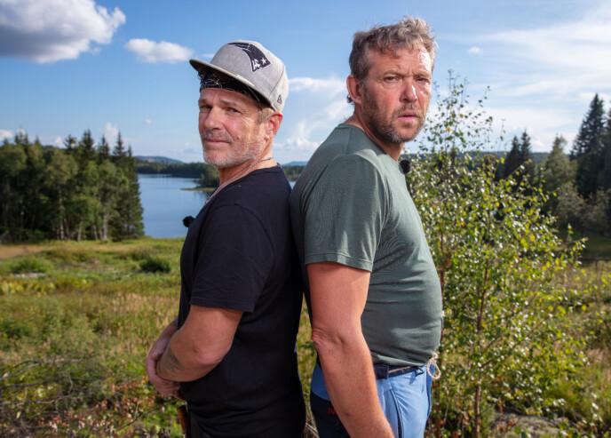 DÅRLIG STEMNING: Robert Michael Scott og Kjell Strand møttes til øksetvekamp i søndagens «Farmen». Den kampen vant førstenevnte soleklart. Foto: Alex Iversen / TV 2