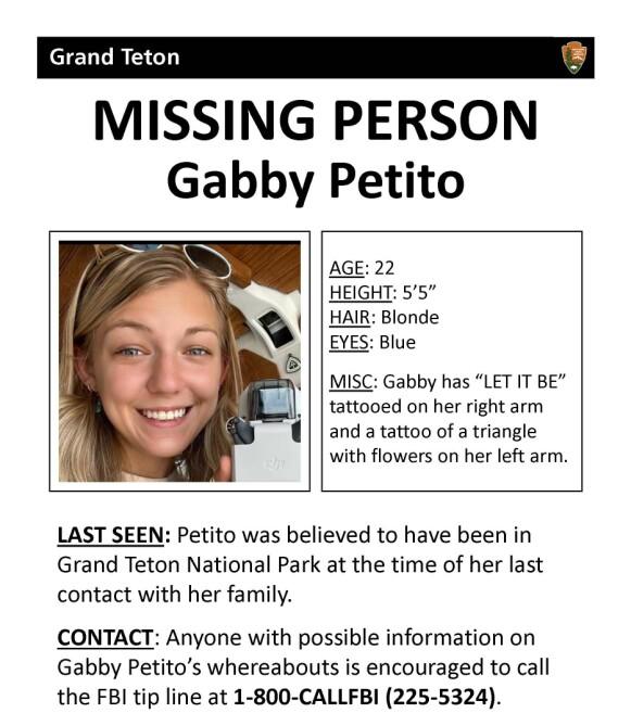 MELDT SAVNET: Gabby Petito ble meldt savnet av familien etter at de ikke fikk svar fra Brian Laundrie. Foto: Faksimile