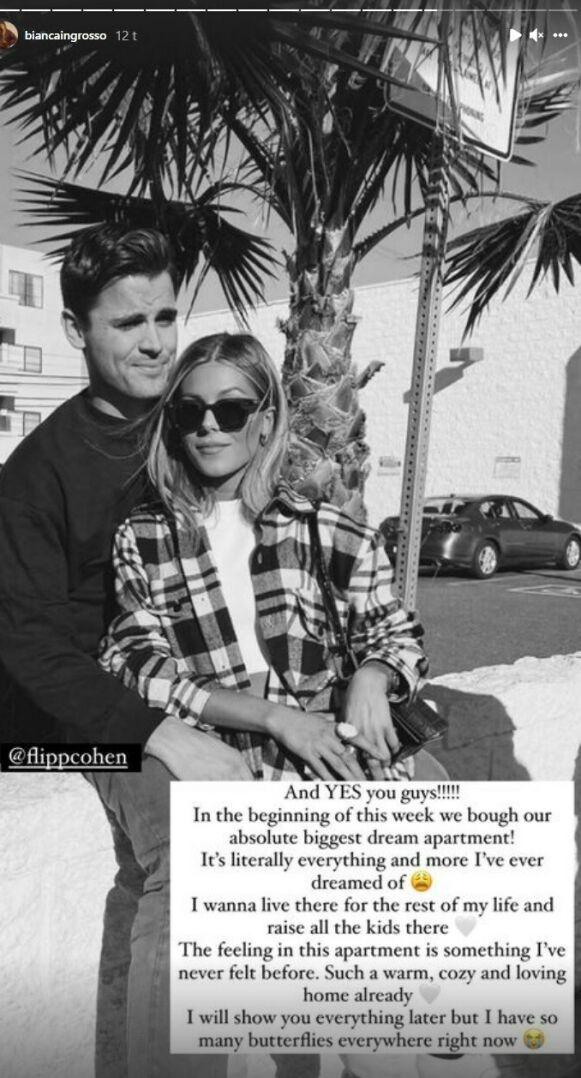 SAMBOERE: Bianca avslører at hun og kjæresten har kjøpt seg leilighet. Foto: Skjermdump fra Instagram