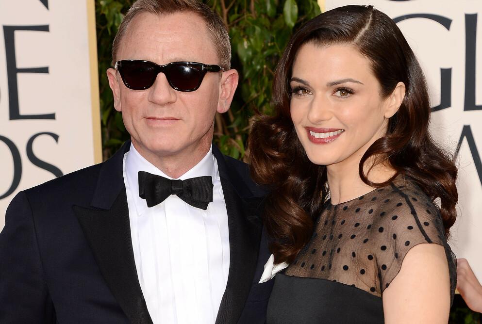 FORETREKKER HOMOBAR: Daniel Craig avslører hvor han liker å dra ut. Her med kona Rachel Weisz. Foto: Broadimage/REX/NTB